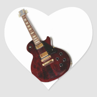 Vintage Electric Guitar Heart Sticker