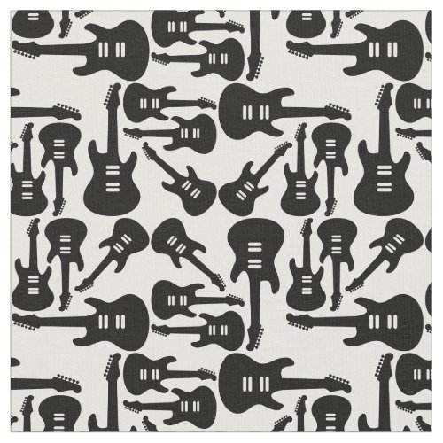 Vintage Electric Guitars Black  White Music Theme Fabric