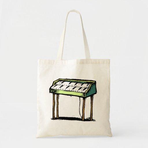 Vintage Electric Organ Piano Design Graphic Canvas Bags
