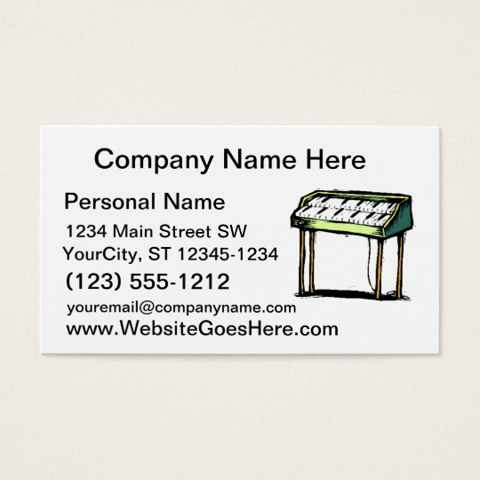 Vintage Electric Organ Piano Design Graphic Business Card