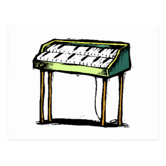 Vintage Electric Organ Piano Design Graphic Postcard