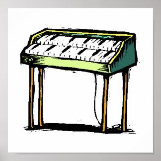 Vintage Electric Organ Piano Design Graphic Poster