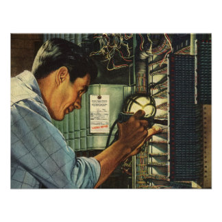 Vintage Electrician Examining Circuit Breakers Custom Announcement