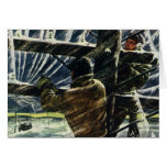 Vintage Electricians Working in a Snow Storm Greeting Cards