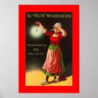 Vintage Electricity Dutch Philips 1910 Dutch Girl Poster