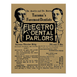 Vintage Electro Dental Palor Dentist Ad Posters