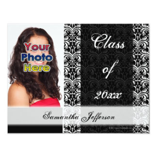 Vintage Elegance, Black and White Graduation Card