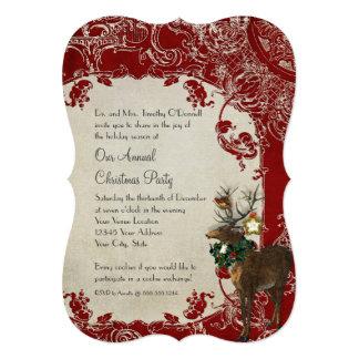 Vintage Elegance Christmas Deer Antlers Damask Card