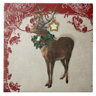 Vintage Elegance Christmas Deer Antlers Damask Ceramic Tile