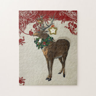 Vintage Elegance Christmas Deer Antlers Damask Jigsaw Puzzle