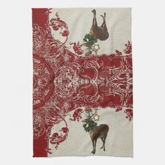 Vintage Elegance Christmas Deer Antlers Damask Hand Towels