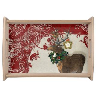 Vintage Elegance Christmas Deer Antlers Damask Serving Tray