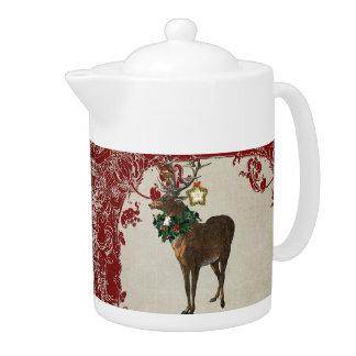 Vintage Elegance Christmas Deer Antlers Damask Teapot