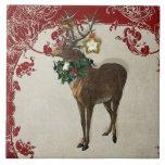 Vintage Elegance Christmas Deer Antlers Damask Tiles