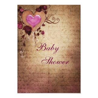 Vintage Elegance Hearts & Roses Baby Shower 5x7 Paper Invitation Card