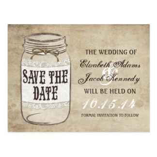 Vintage Elegance Mason Jar Twine Save the Date Postcard
