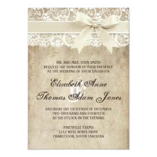Vintage Elegance Ribbon on Lace Wedding Invitation