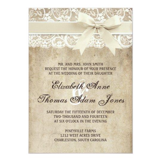 Vintage Elegance Ribbon on Lace Wedding Invitation | Zazzle
