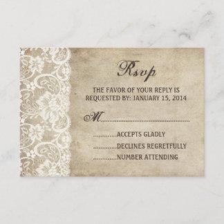 Vintage Elegance Ribbon on Lace Wedding RSVP card
