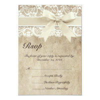 Vintage Elegance Ribbon on Lace Wedding RSVP Card