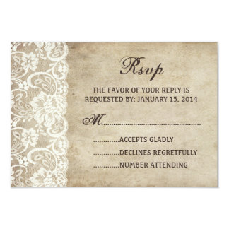 Vintage Elegance Ribbon on Lace Wedding RSVP card Personalized Announcement