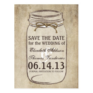 Vintage Elegance Twine Mason Jar Save the Date Post Cards