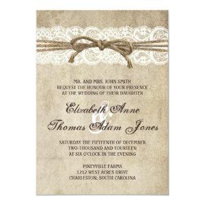 Vintage Elegance Twine on Lace Wedding Invitation