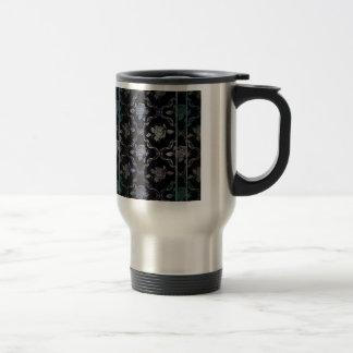 Vintage Elegant Black and Blue-Green Damask Roses 15 Oz Stainless Steel Travel Mug