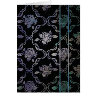 Vintage Elegant Black and Blue-Green Damask Roses Card