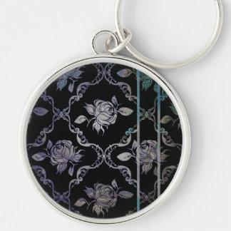 Vintage Elegant Black and Blue-Green Damask Roses Keychain