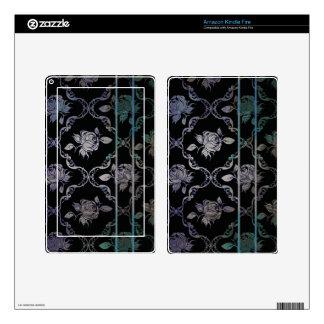 Vintage Elegant Black and Blue-Green Damask Roses Kindle Fire Decal