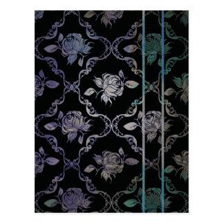 Vintage Elegant Black and Blue-Green Damask Roses Postcard