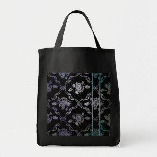 Vintage Elegant Black and Blue-Green Damask Roses Tote Bag