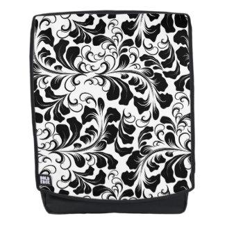 Vintage elegant black and white boho vines pattern backpack