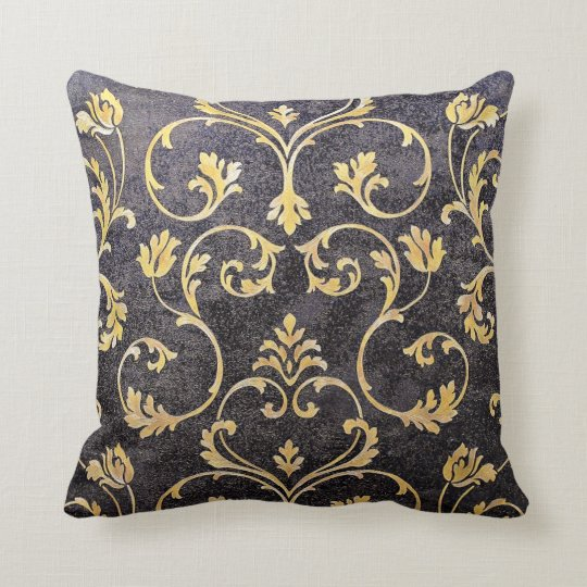 vintage elegant chic black and gold floral damask throw pillow. Black Bedroom Furniture Sets. Home Design Ideas