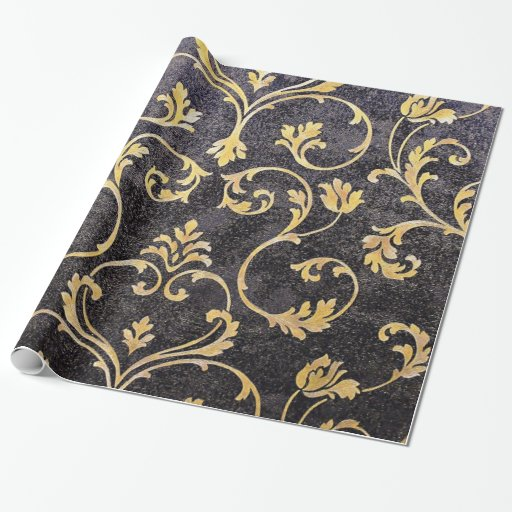 vintage elegant chic black and gold floral damask wrapping paper zazzle. Black Bedroom Furniture Sets. Home Design Ideas