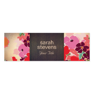 Vintage Elegant Colorful Floral Wood and Gold Double-Sided Mini Business Cards (Pack Of 20)