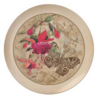 Vintage elegant design Pink Flowers and Butterfly Party Plate