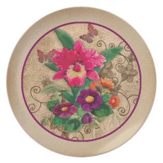 Vintage elegant design Pink Orchid  Purple Flowers Plate