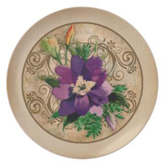 Vintage elegant design Violet Flower Dinner Plates
