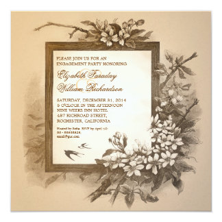 "vintage elegant engagement party invitations 5.25"" square invitation card"