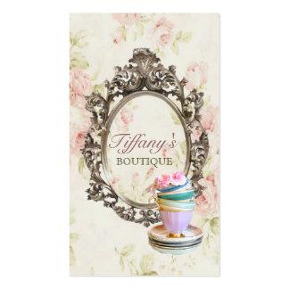 vintage elegant  english floral  teacups  fashion business card