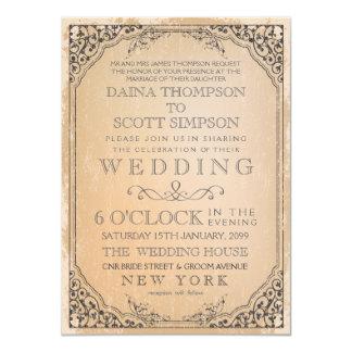 "Vintage Elegant Filigree Frame Border Wedding 4.5"" X 6.25"" Invitation Card"