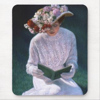 Vintage Elegant Fine Art Victorian Lady Reading Mouse Pad