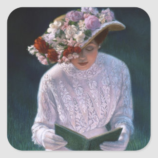 Vintage Elegant Fine Art Victorian Lady Reading Square Sticker