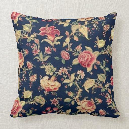 Vintage Elegant Floral Blue Rose Pillow