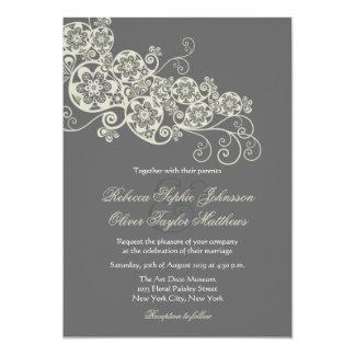 "Vintage Elegant Floral Paisley Boho Wedding Invite 5"" X 7"" Invitation Card"