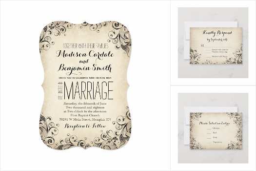 Vintage Elegant Flourish Wedding Invitations