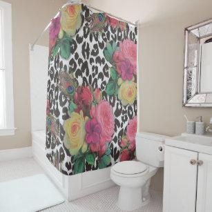 Vintage Elegant Flowers Cheetah Shower Curtain