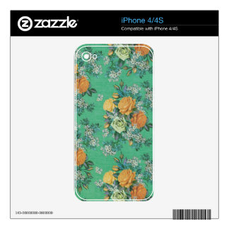 vintage elegant flowers floral theme pattern skins for iPhone 4S
